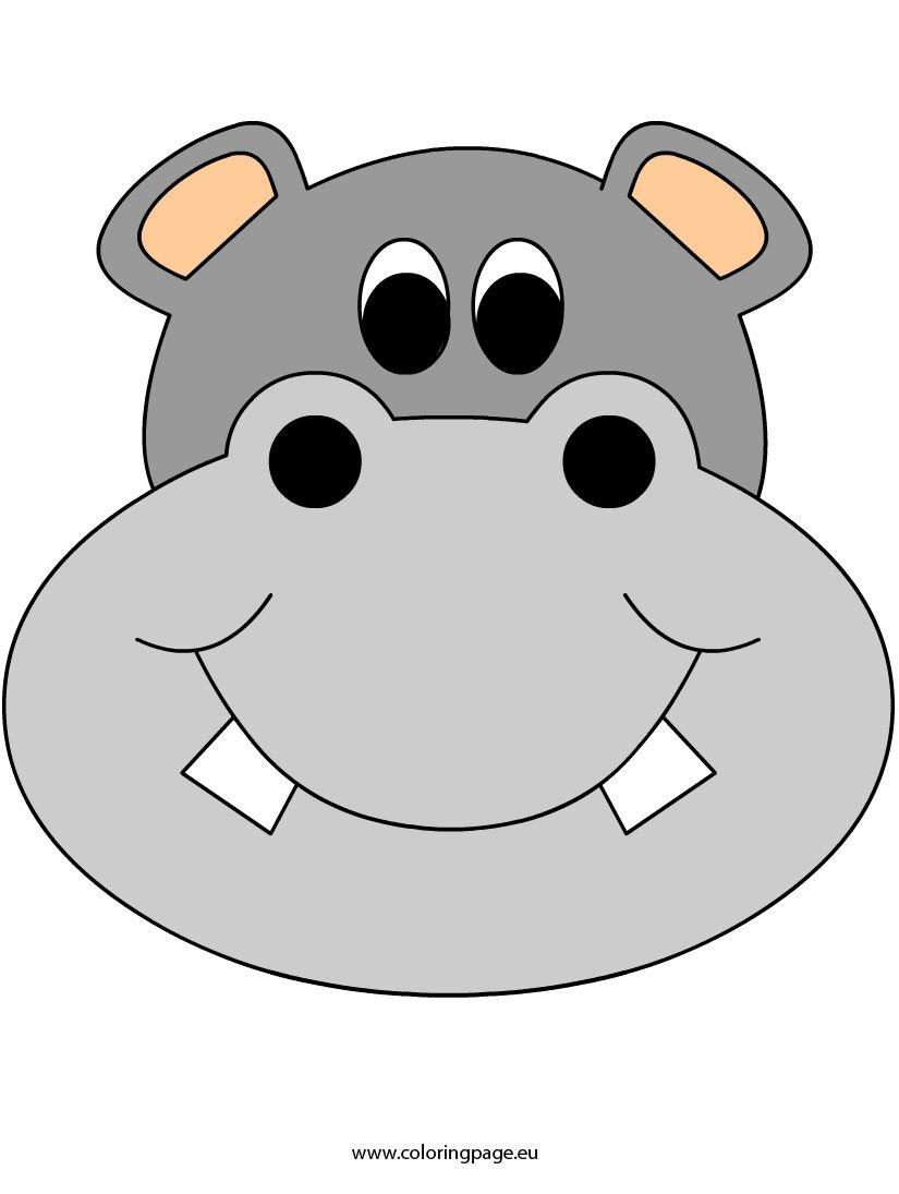 Face-Mask-Hippo2 | Coloring Fun | Cartoon Hippo, Mask Template, Lion - Free Printable Hippo Mask