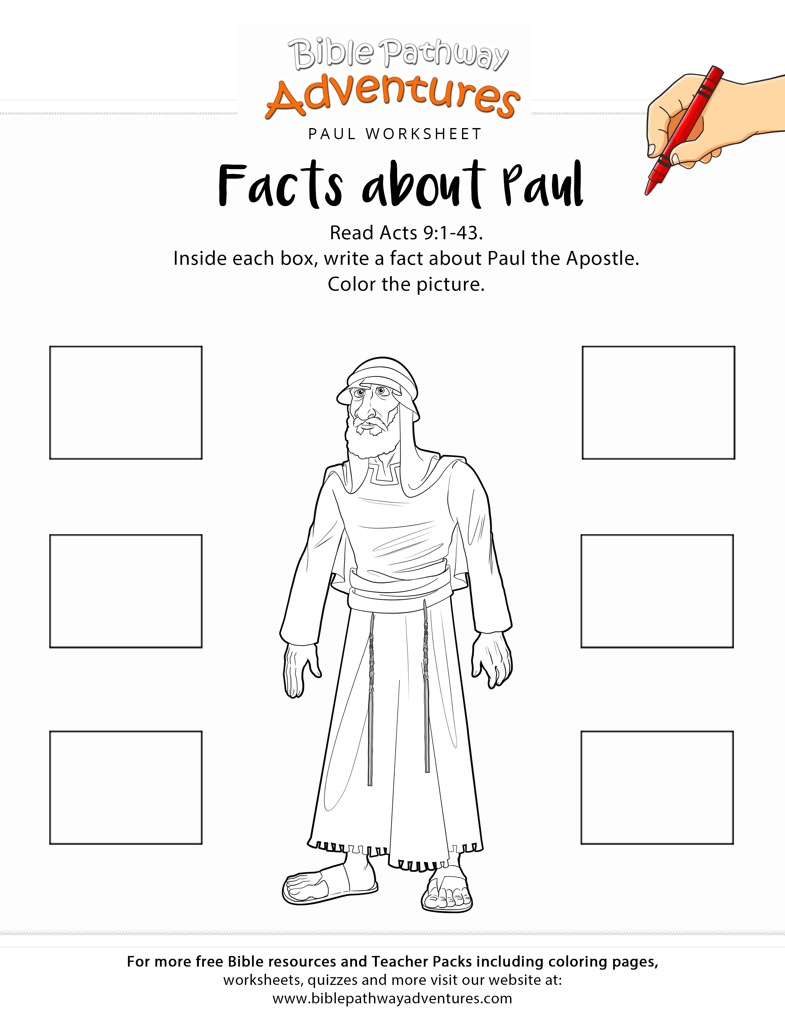 Facts About Paul Printable Bible Worksheet | Adventure Zone | Bible - Free Printable Sunday School Crafts