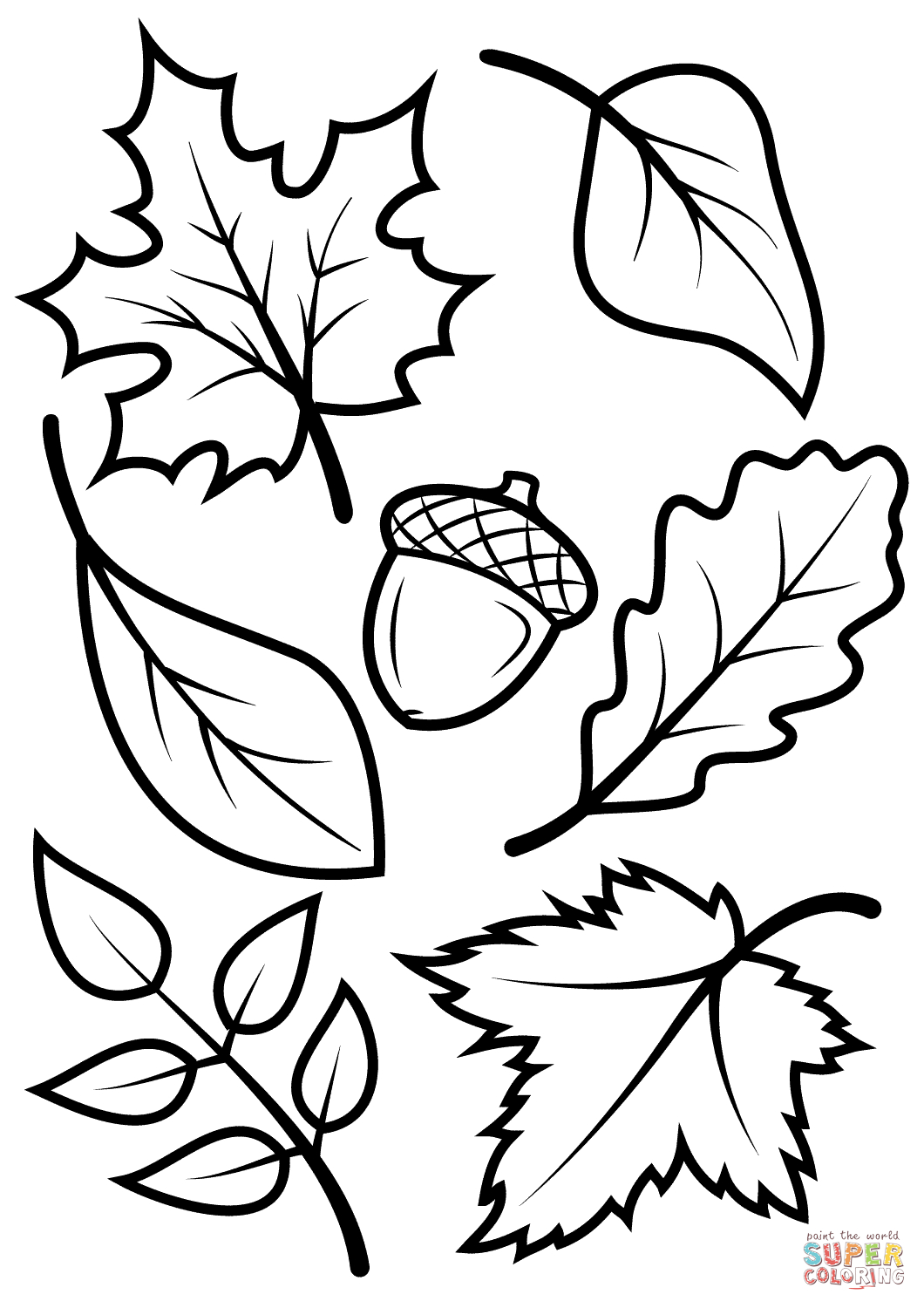 Fall Leaves And Acorn Coloring Page | Free Printable Coloring Pages - Free Printable Fall Coloring Pages