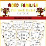 Fall Word Families Worksheets For Kindergarten Or 1St Grade   Free Printable Word Family Worksheets For Kindergarten