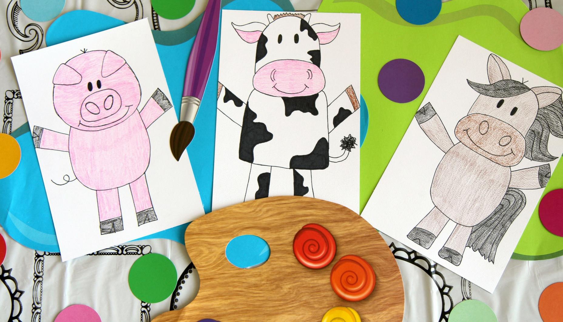Farm Animal Directed Drawings | Fun365 - Free Printable Farm Animal Cutouts