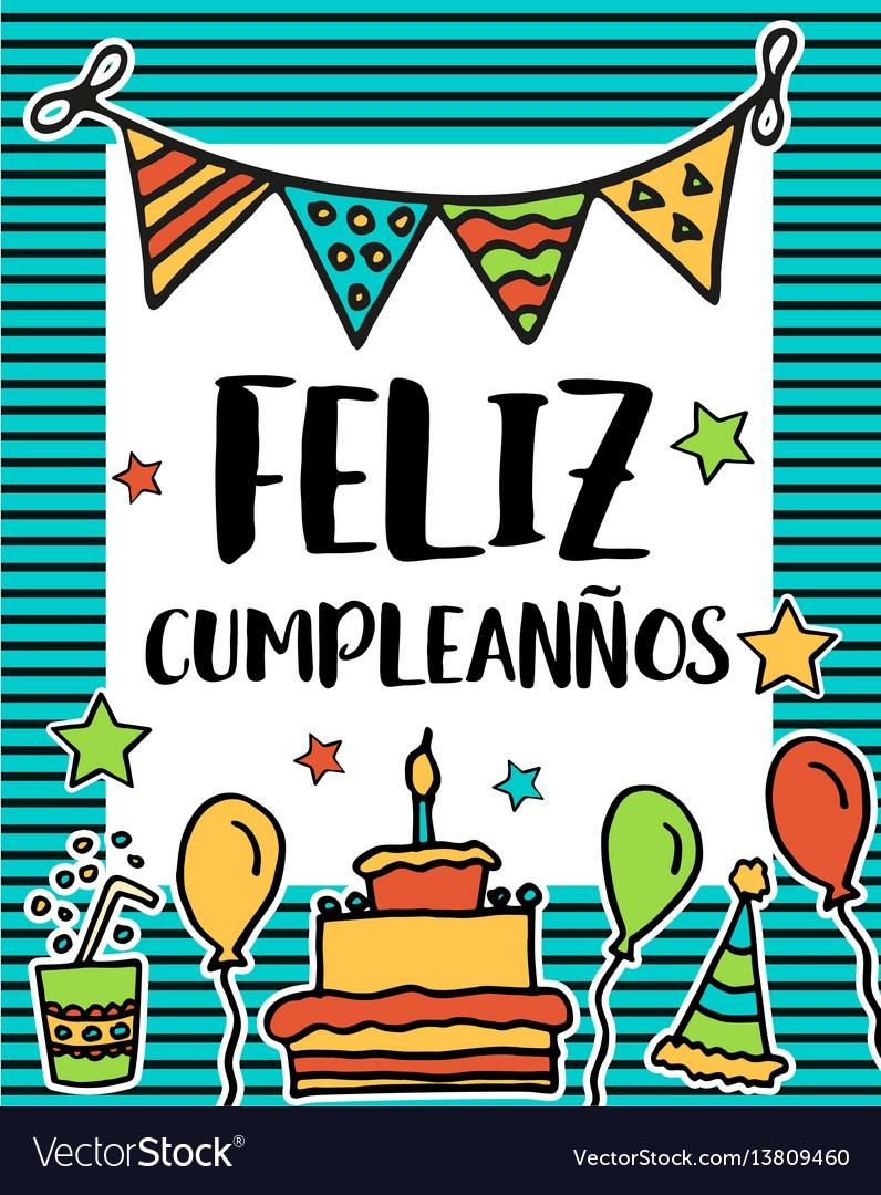 Feliz Cumpleanos Happy Birthday In Spanish Vector Image - Free - Free Printable Happy Birthday Cards In Spanish