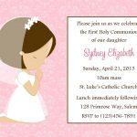 First Communion Invitation   Girl (Digital File) / 1St Communion   Free Printable First Communion Invitation Templates
