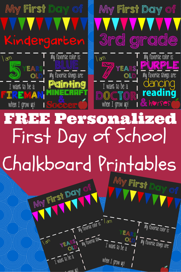 First Day Of School Printable Chalkboard Sign | Kids Stuff | 1St Day - My First Day Of Kindergarten Free Printable