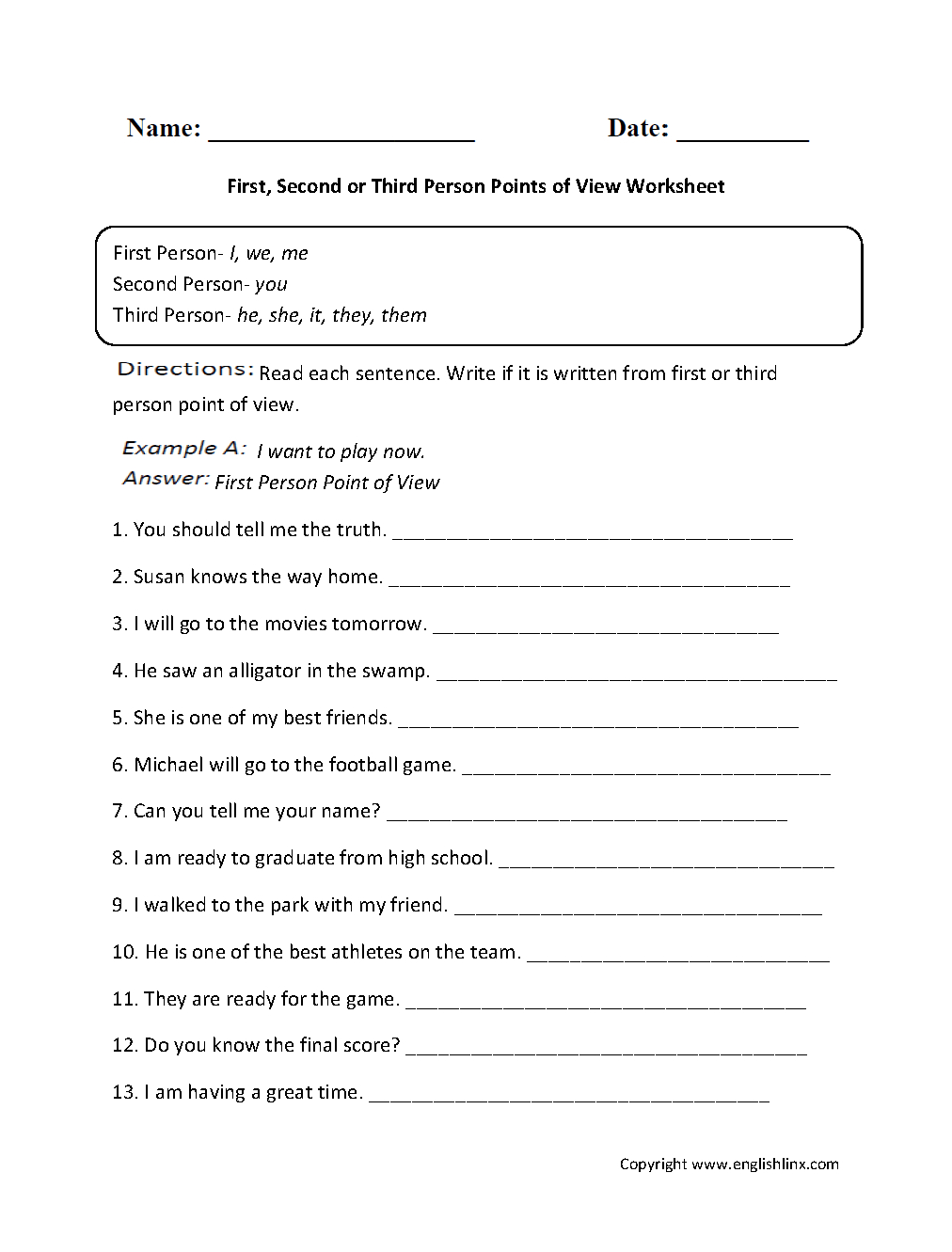 First, Second Or Third Person Points Of View Worksheet | Great - Free Printable Worksheets For 1St Grade Language Arts