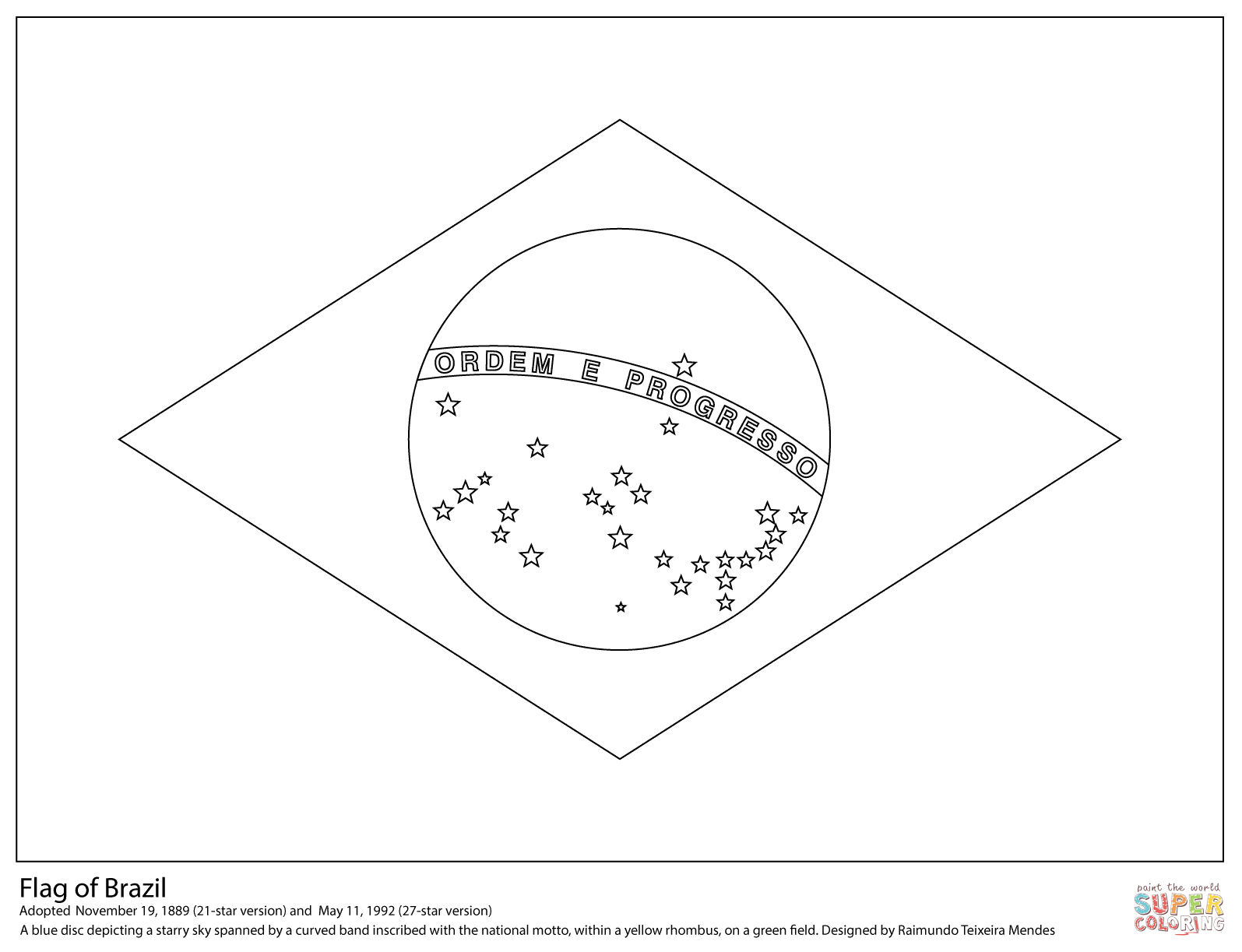 Flag Of Brazil Coloring Page | Free Printable Coloring Pages - Free Printable Brazil Flag
