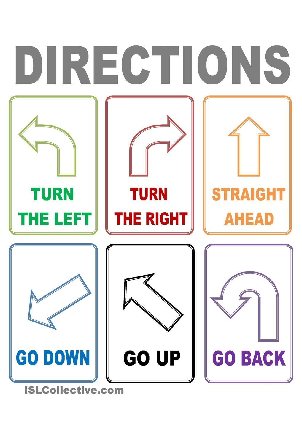 Flash Cards Directions | Places To Visit | Esl, Worksheets, Learn - Free Printable Ged Flashcards