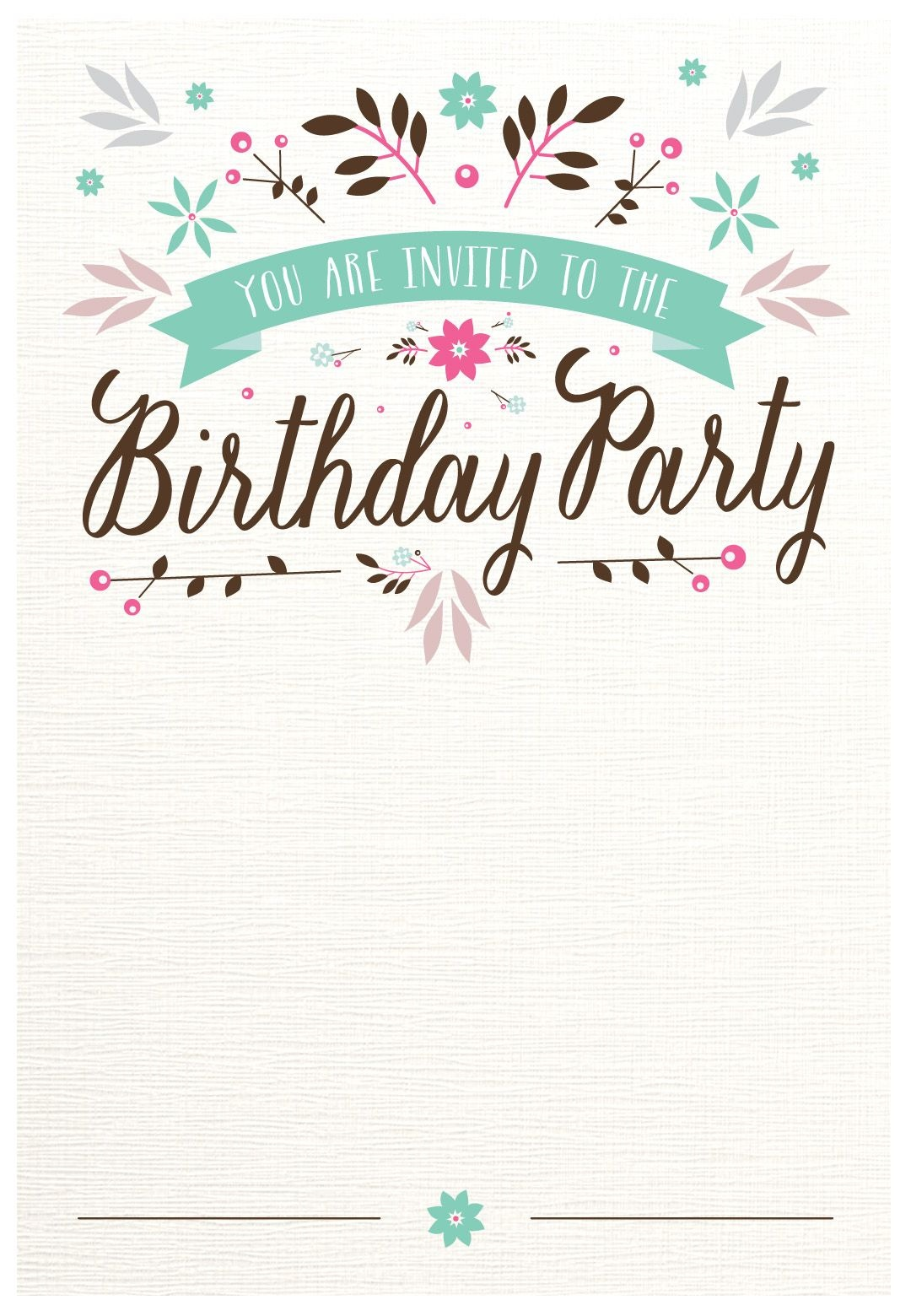 Flat Floral - Free Printable Birthday Invitation Template - Free Printable Birthday Party Invitations With Photo