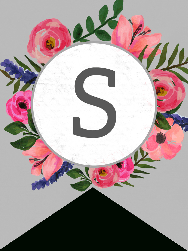 Floral Alphabet Banner Letters Free Printable | Banner | Banner - Free Printable Flower Letters