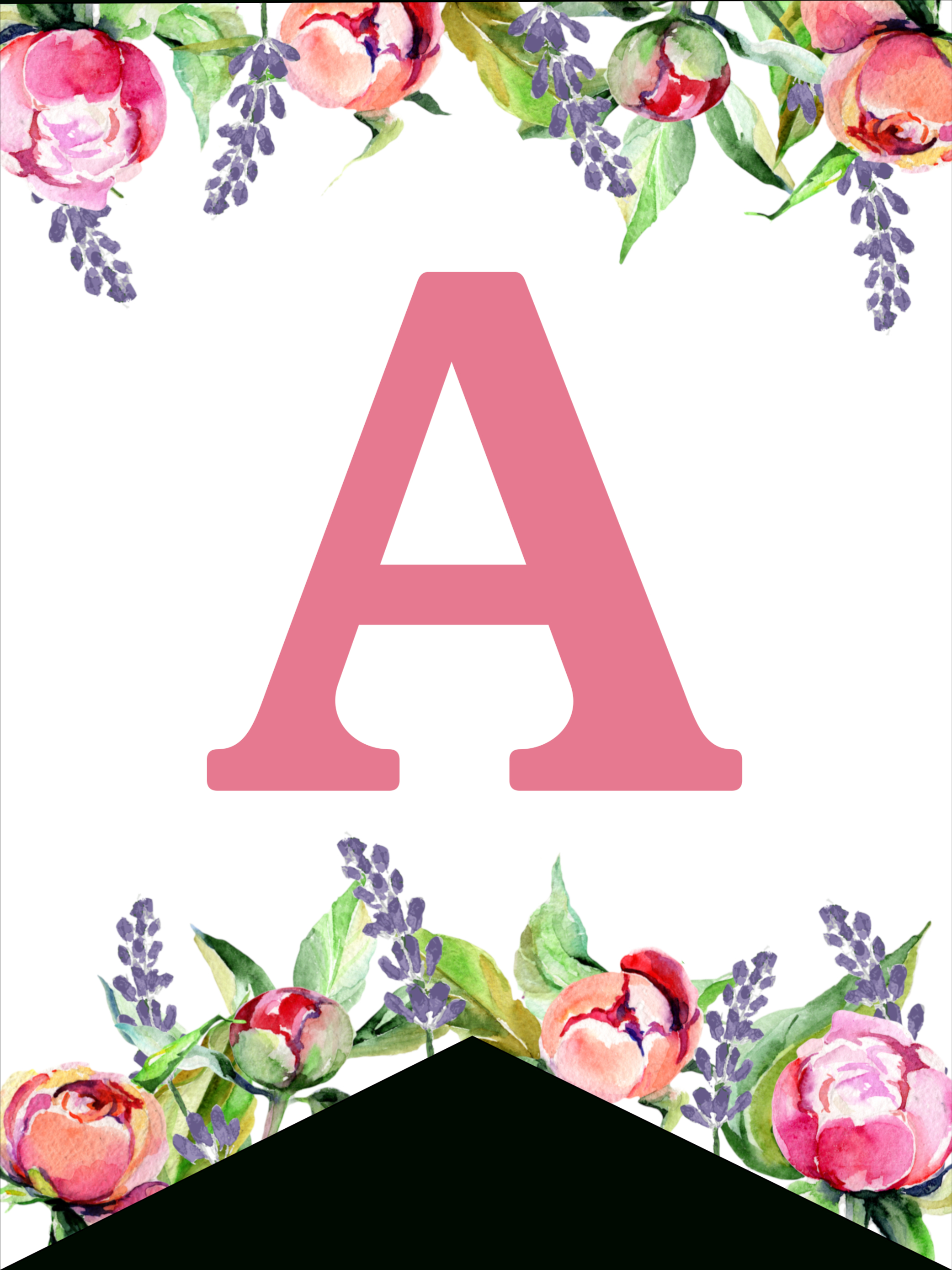 Floral Free Printable Alphabet Letters Banner - Paper Trail Design - Free Printable Flower Letters