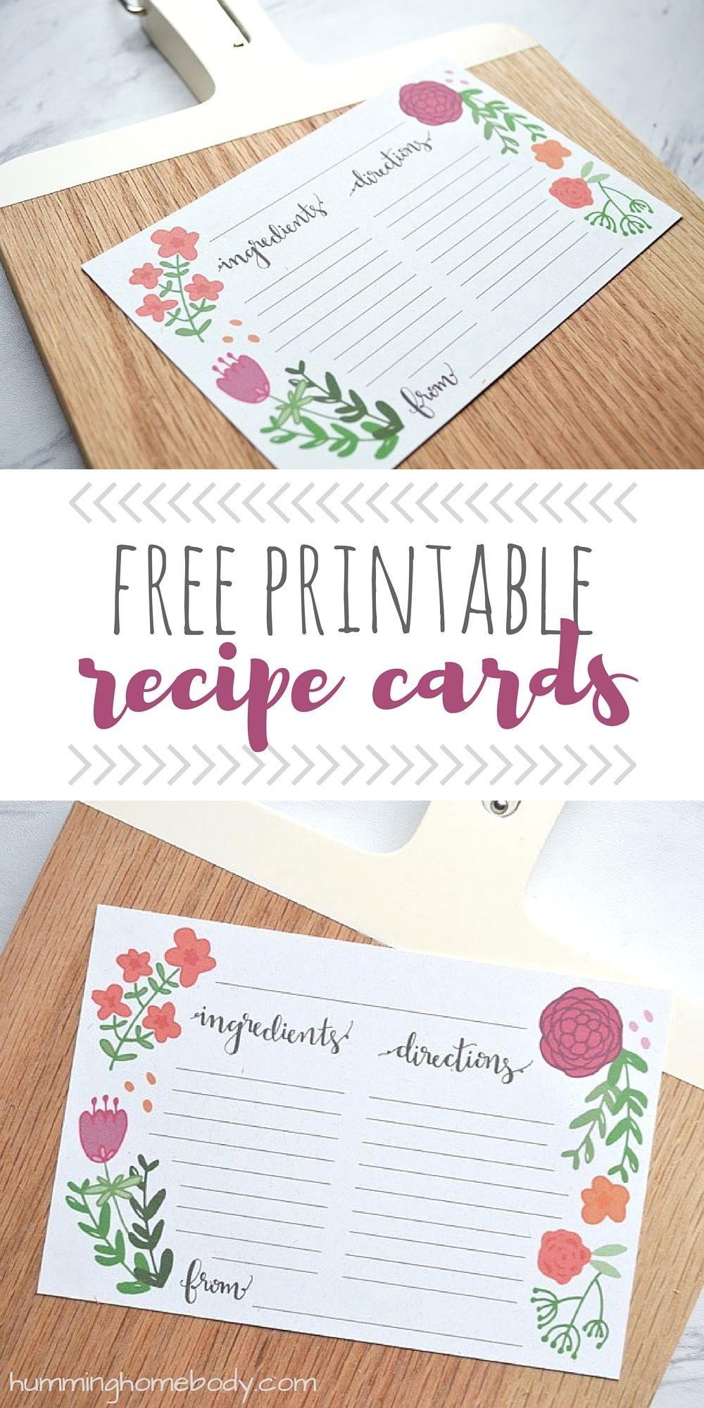 Floral Printable Recipe Cards   Printables   Printable Recipe Cards - Free Printable Photo Cards 4X6