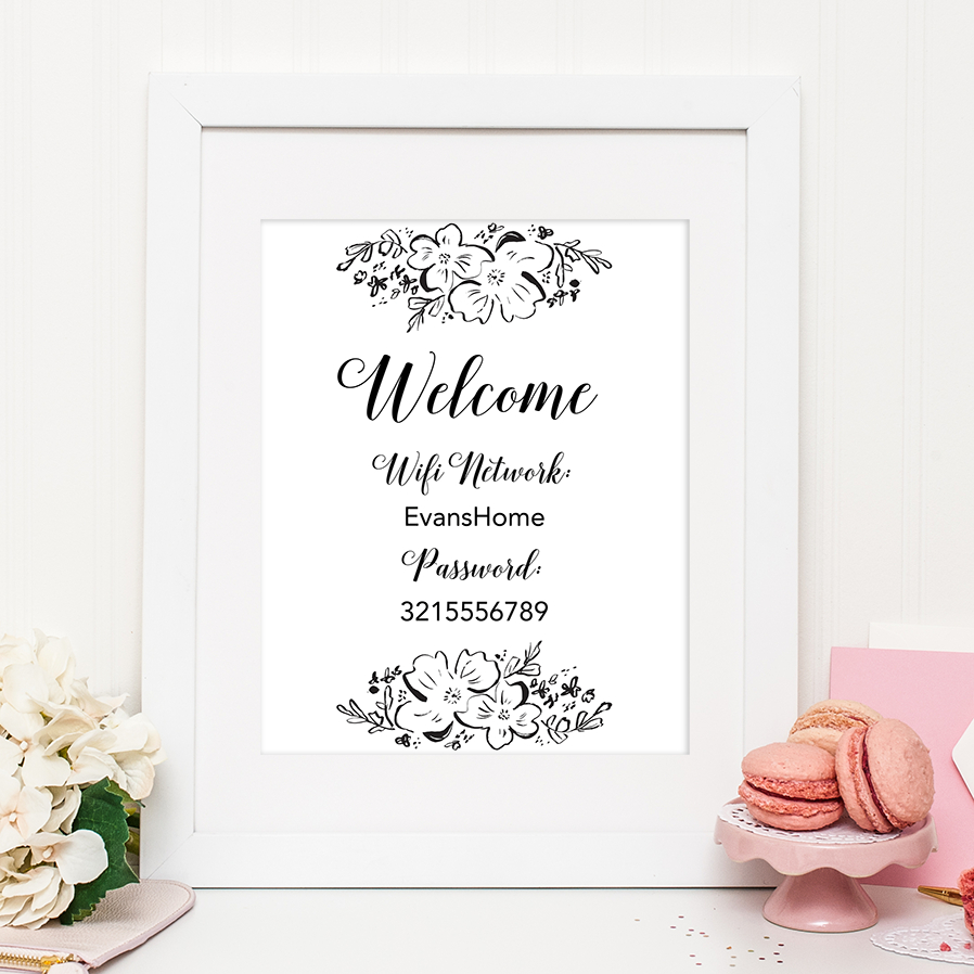 Floral Wifi Password Sign - Chicfetti - Free Printable Wifi Sign