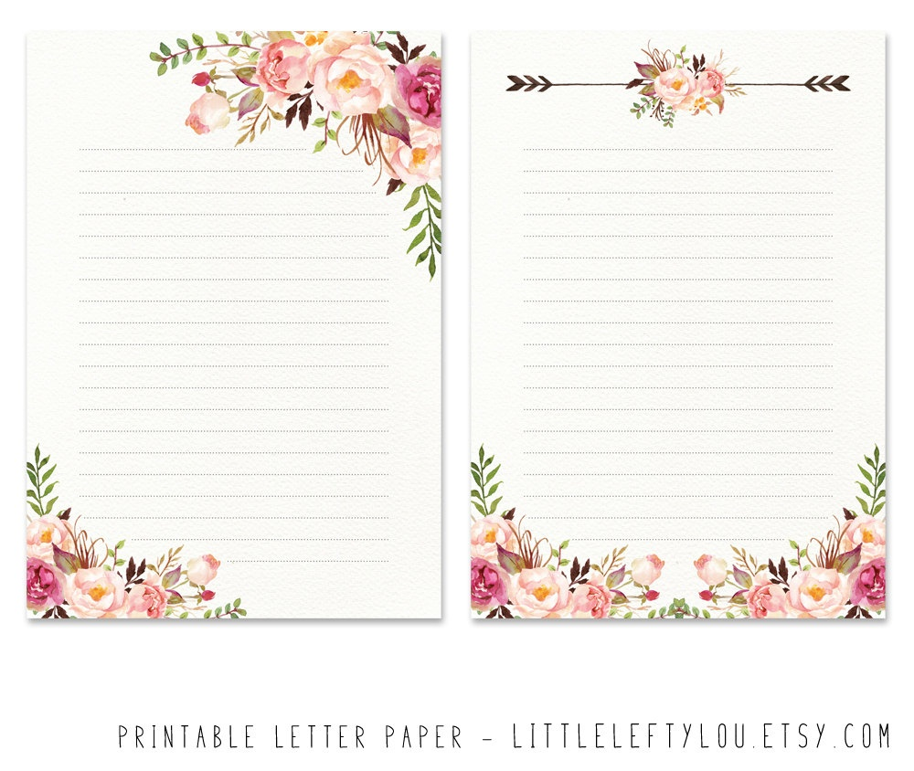 Flower Writing Paper Printables - Free Printable Stationery Writing Paper
