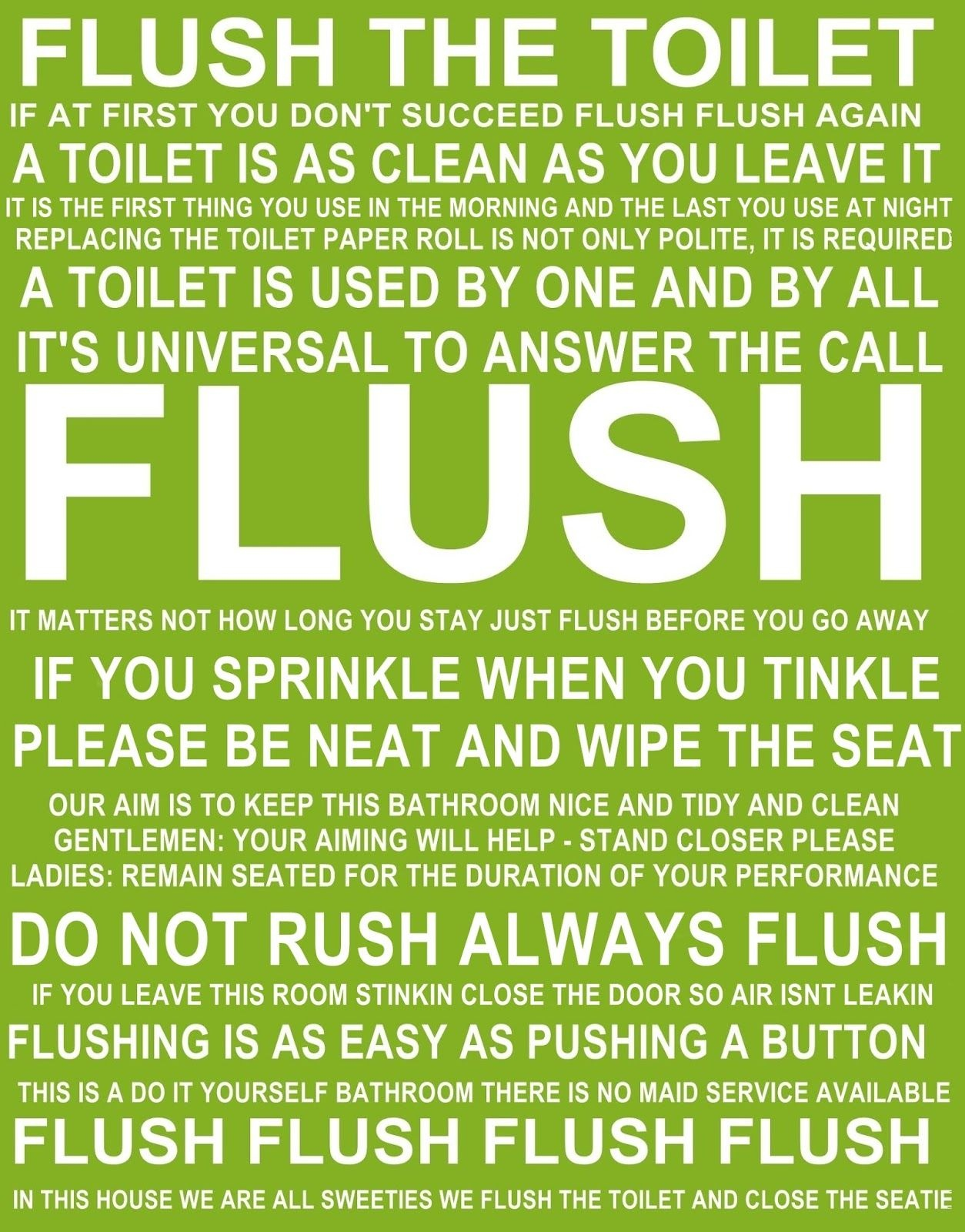 Flush The Toilet Quotes And Sayings Free Printable | Bathroom - Free Printable Do Not Flush Signs