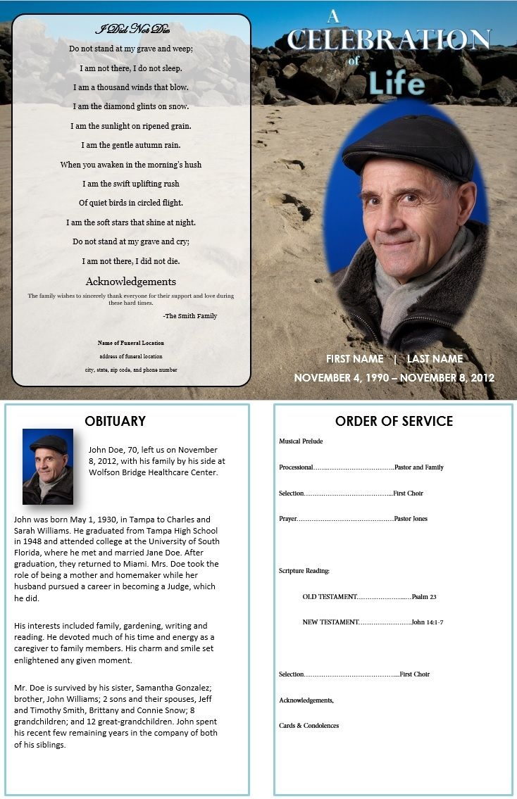 Footprints In Sand | Grief | Funeral Order Of Service, Funeral - Free Printable Funeral Programs