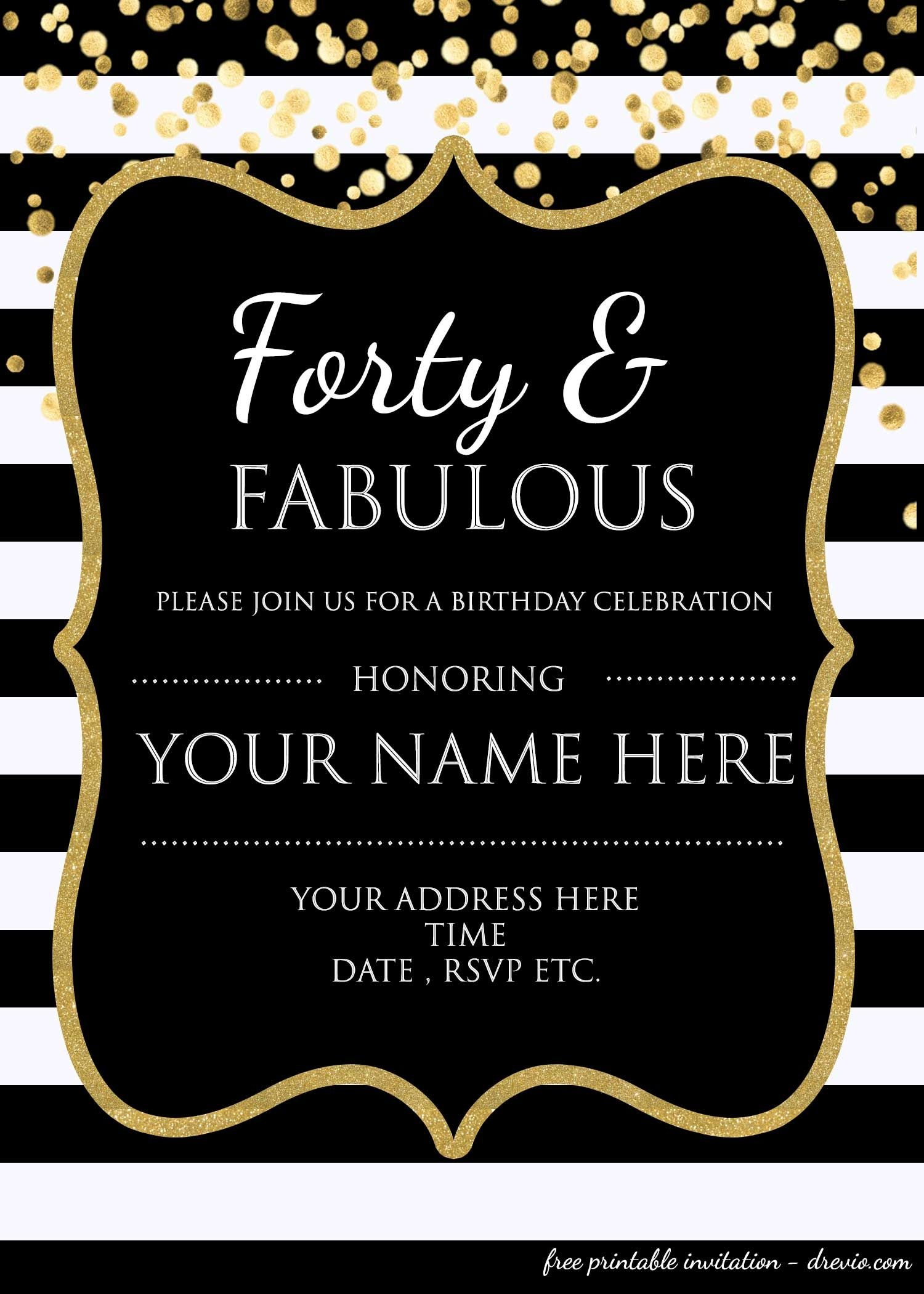 Forty & Fabulous : 40Th Birthday Invitation Template - Psd - Free Printable Surprise 40Th Birthday Party Invitations