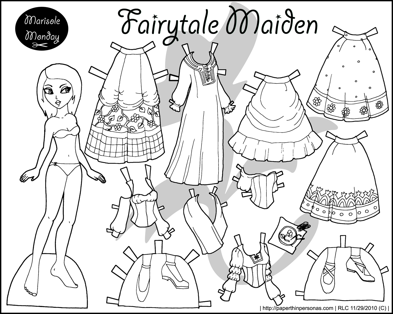Four Princess Coloring Pages To Print & Dress - Free Printable Paper Doll Coloring Pages