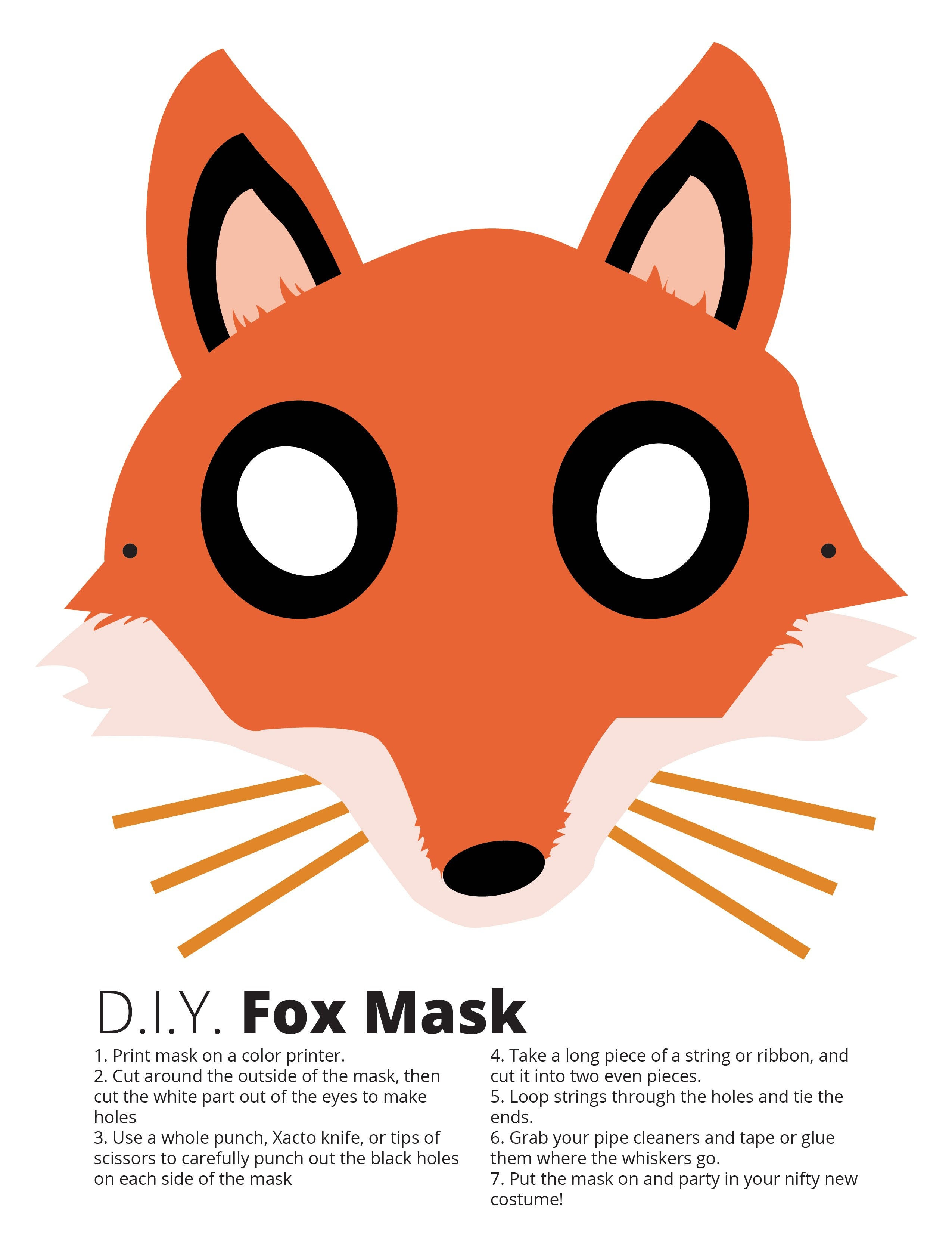 photograph relating to Printable Fox Masks known as Absolutely free Printable Fox Mask Template No cost Printable