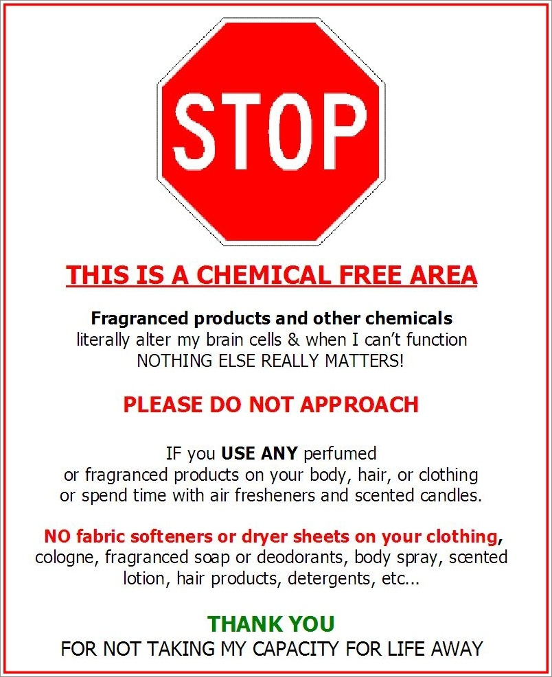 "Fragrance-Free Door Signs | Seriously ""sensitive"" To Pollution - Free Printable Fragrance Free Signs"