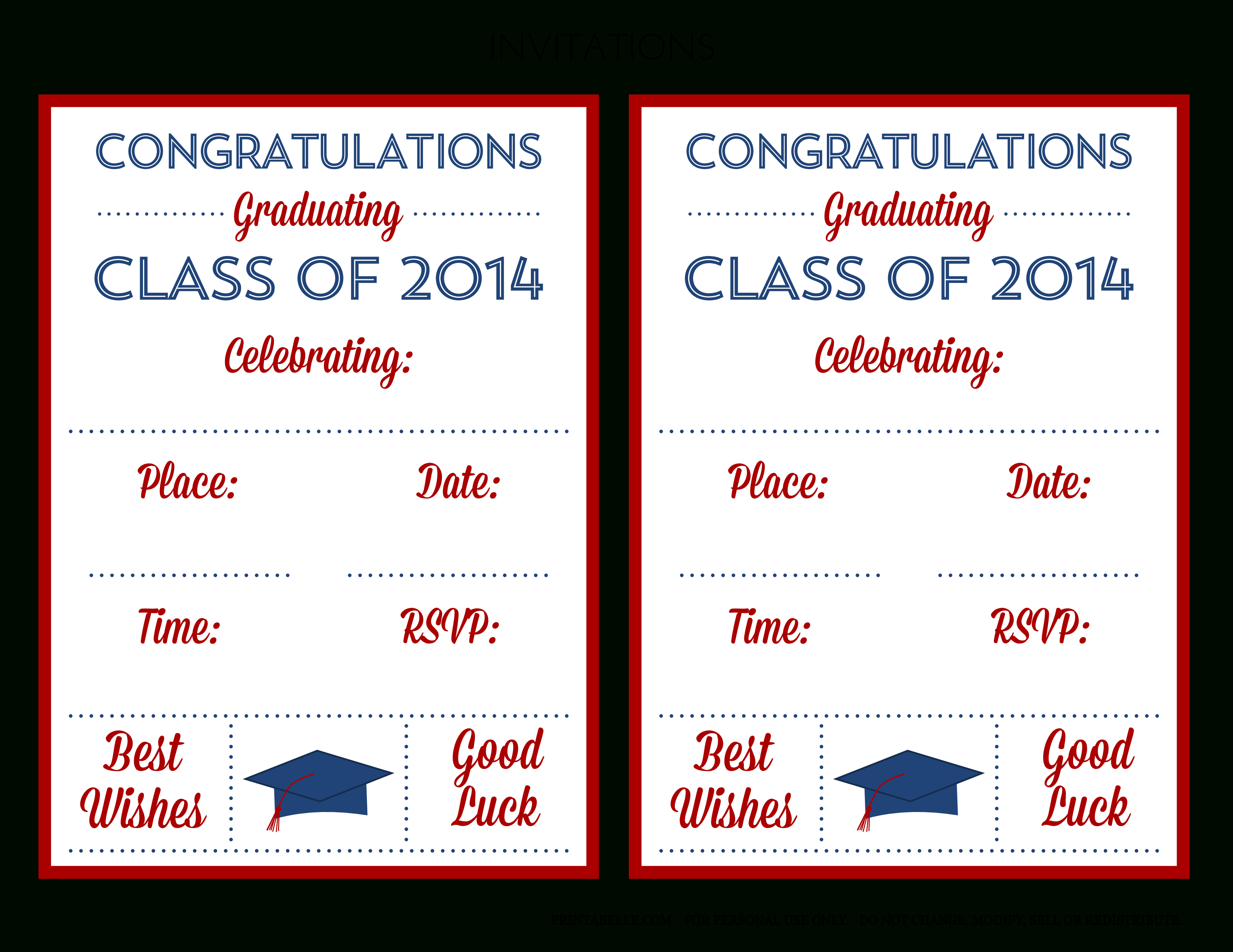 Free 2014 Graduation Party Printables From Printabelle   Catch My Party - Free Printable Graduation Party Invitations 2014