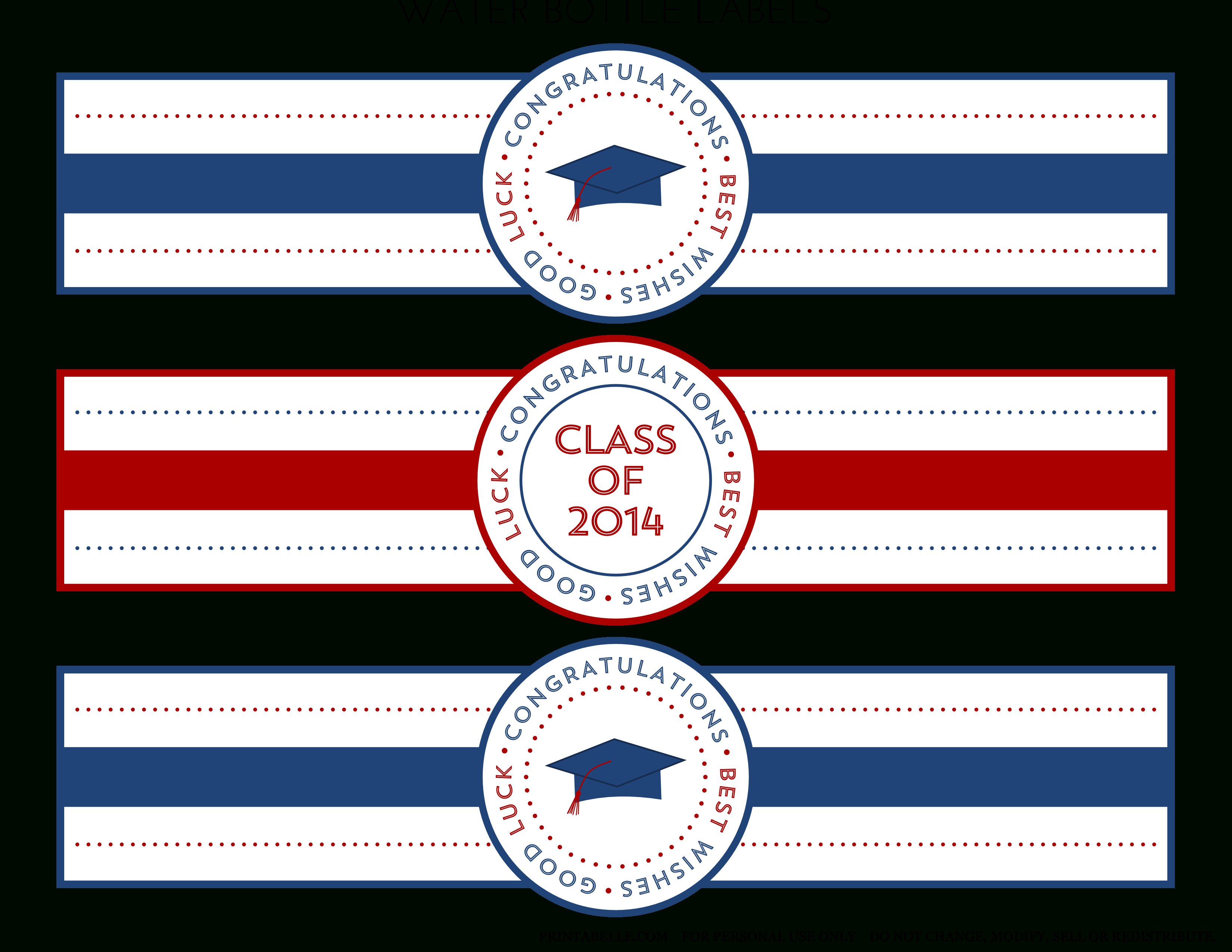 Free 2014 Graduation Party Printables From Printabelle | Catch My Party - Free Printable Water Bottle Labels Graduation