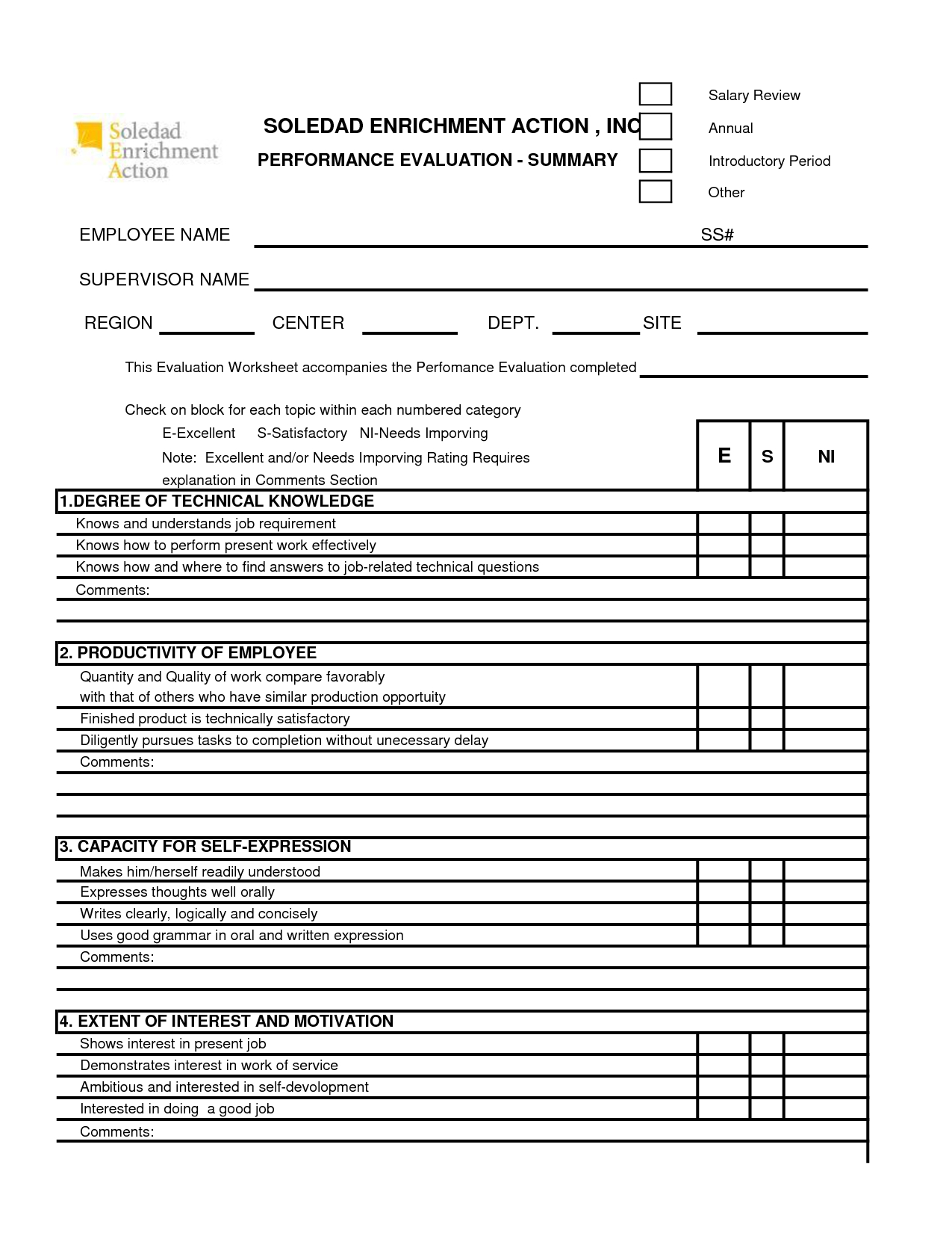 Free 360 Performance Appraisal Form - Google Search   The Career - Free Employee Self Evaluation Forms Printable