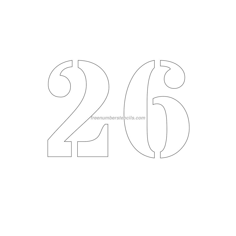 Free 8 Inch 26 Number Stencil - Freenumberstencils - Free Printable Fancy Number Stencils