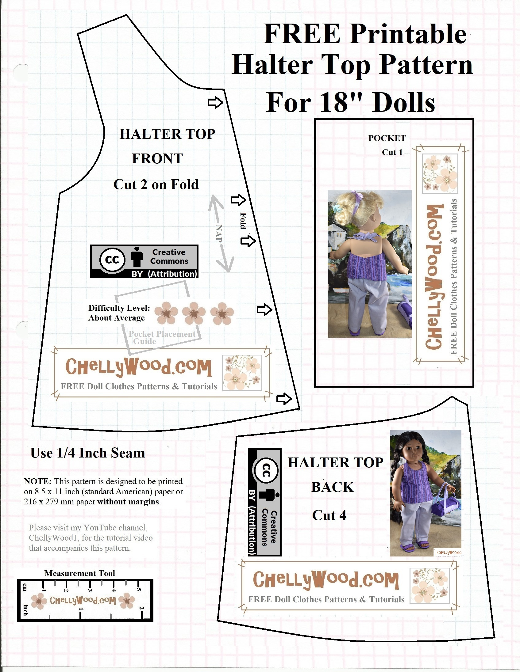 Free #agdoll Summer Shirt Pattern @ Chellywood #sewing 4#dolls - American Girl Doll Clothes Patterns Free Printable