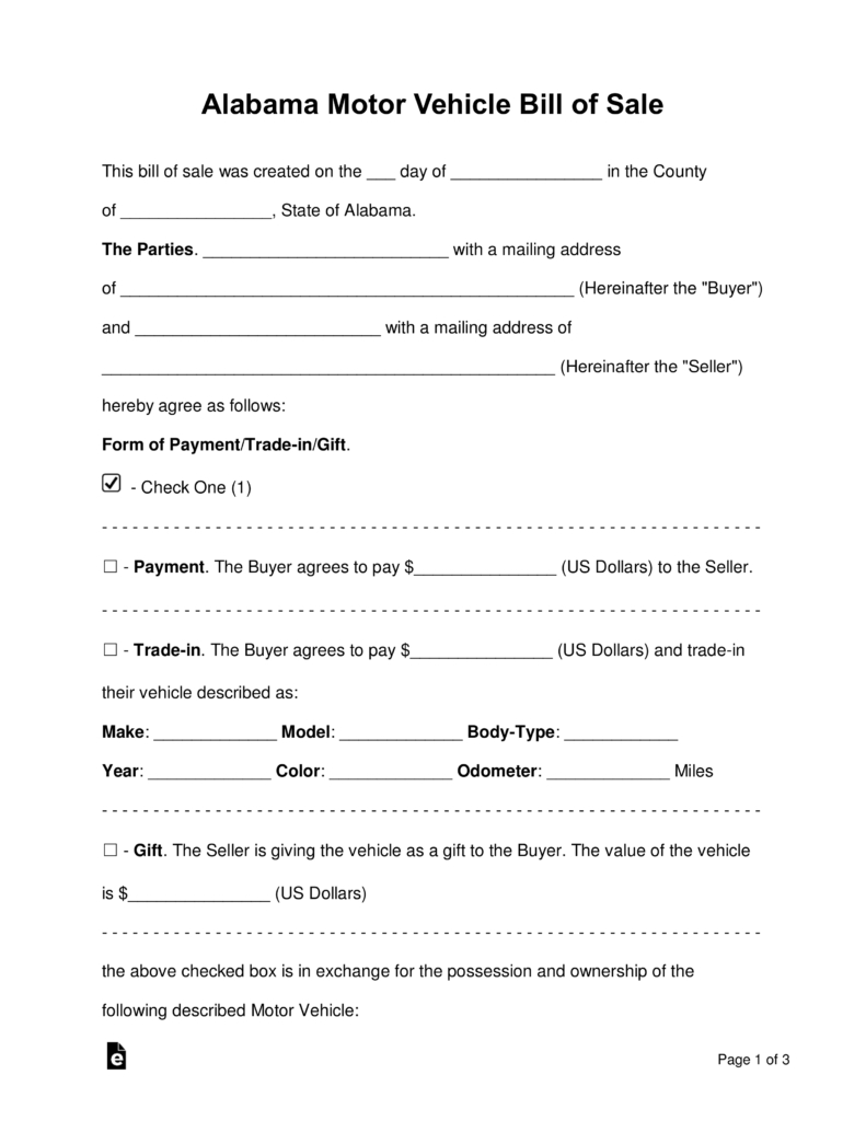 Free Alabama Motor Vehicle Bill Of Sale Form - Word | Pdf | Eforms - Free Printable Bill Of Sale For Car