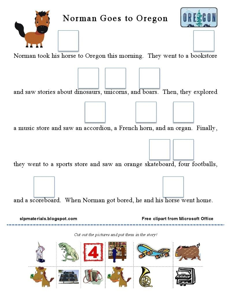 """Free Articulation Story Activity: Vocalic /r/ (""""or"""" Sound)!   Speech - Free Printable Vocalic R Worksheets"""