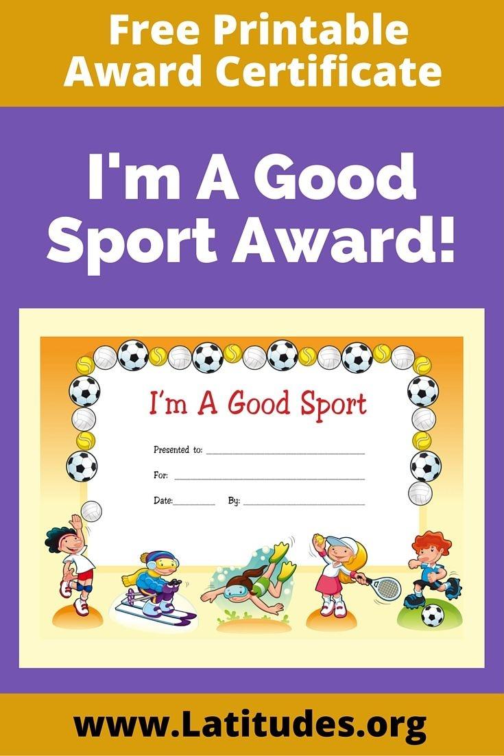 Free Award Certificate - I'm A Good Sport (Primary | Rewarding Good - Sports Certificate Templates Free Printable