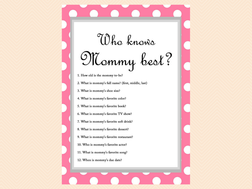 Free Baby Shower Game - Who Knows Mommy Best   Baby Shower Craft - Free Printable Baby Shower Games Who Knows Mommy The Best