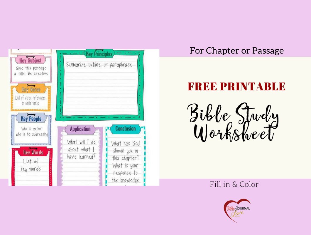 Free Bible Journal Key Worksheet – Bible Journal Love - Free Printable Bible Lessons For Women