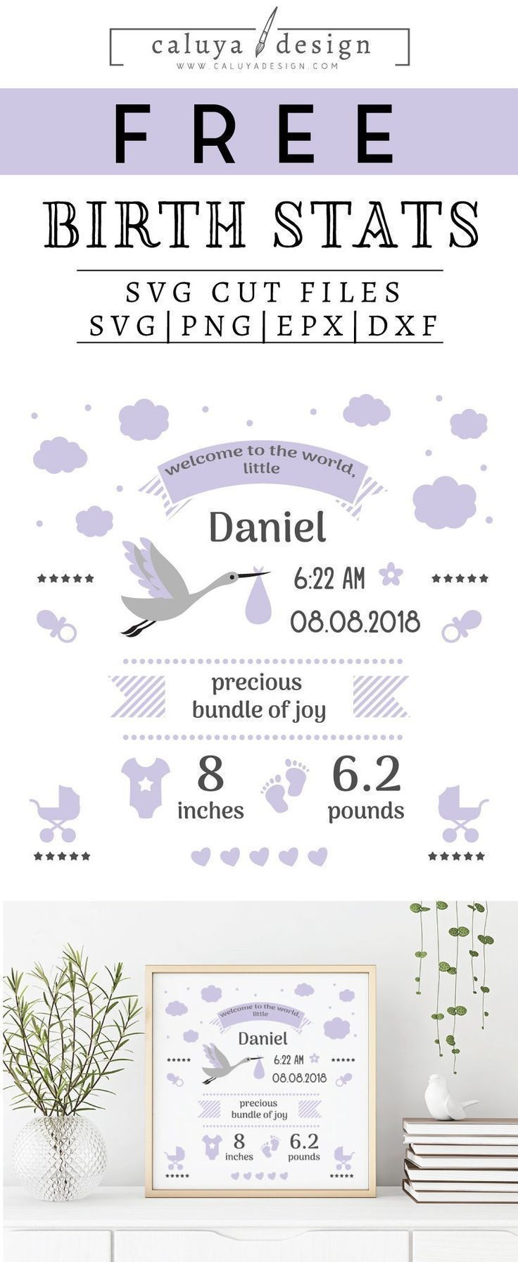Free Birth Stats Board Svg, Png, Eps & Dxf| Free Svg & Png - Free Printable Baby Birth Announcement Cards