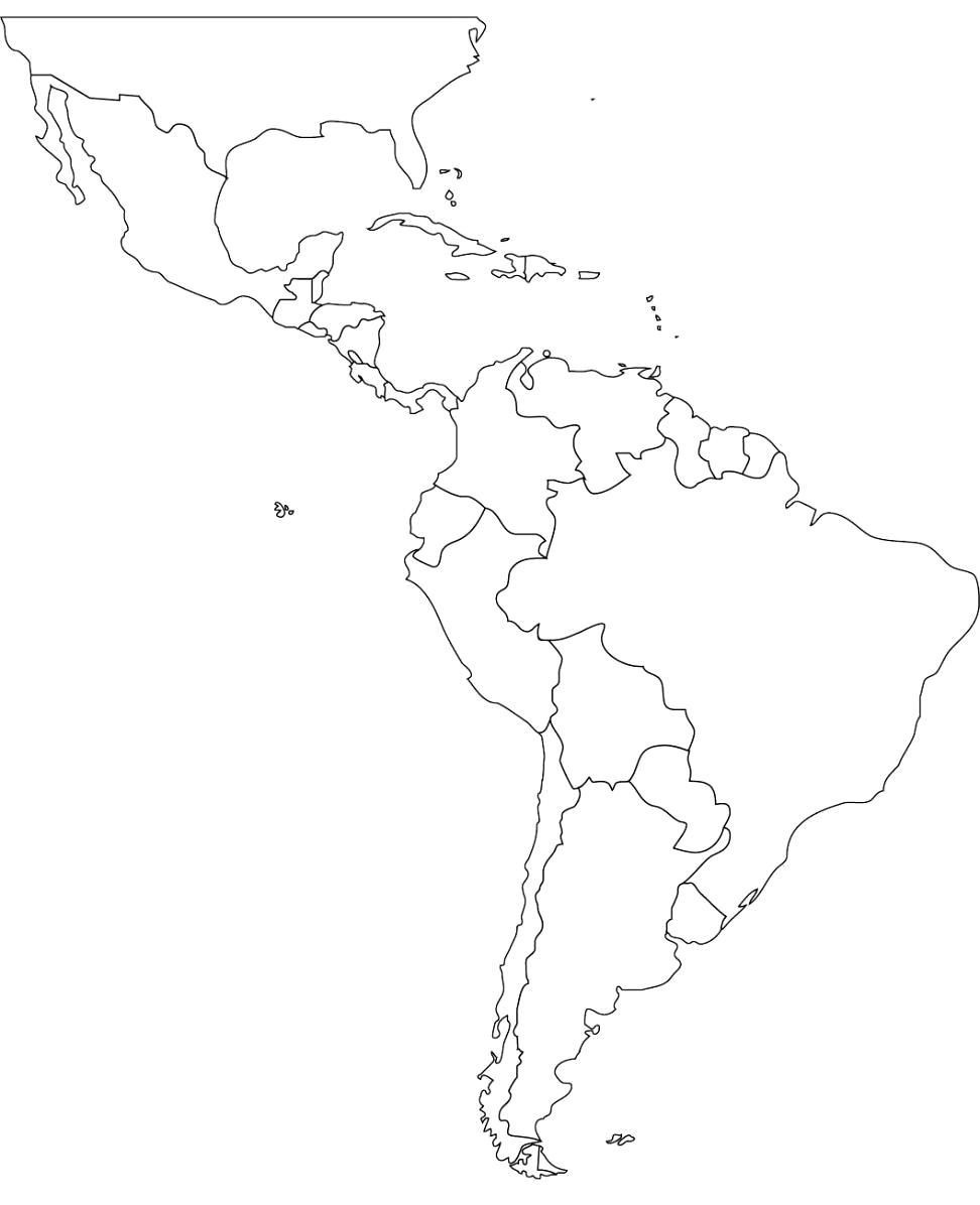 Free Blank Map Of North And South America Latin Printable In ...