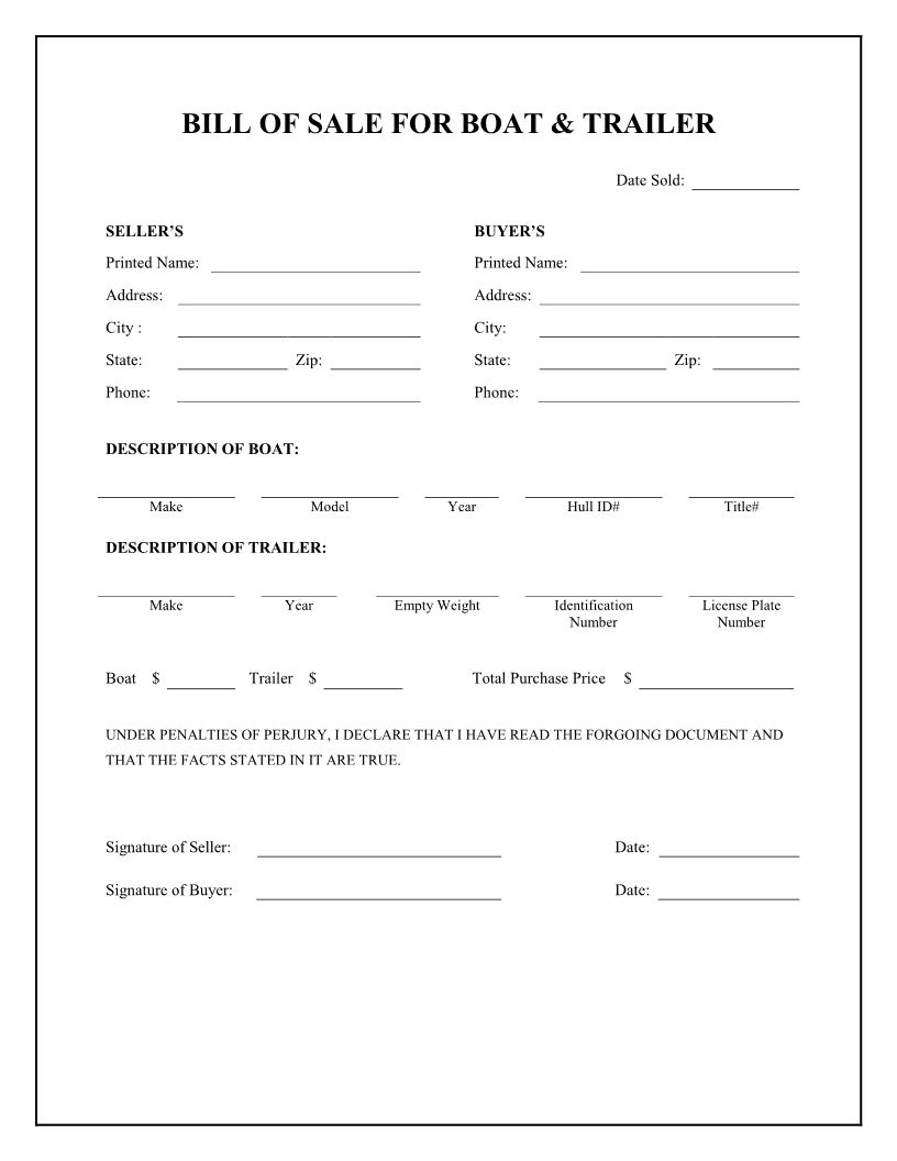 Free Boat & Trailer Bill Of Sale Form - Download Pdf | Word - Free Printable Bill Of Sale