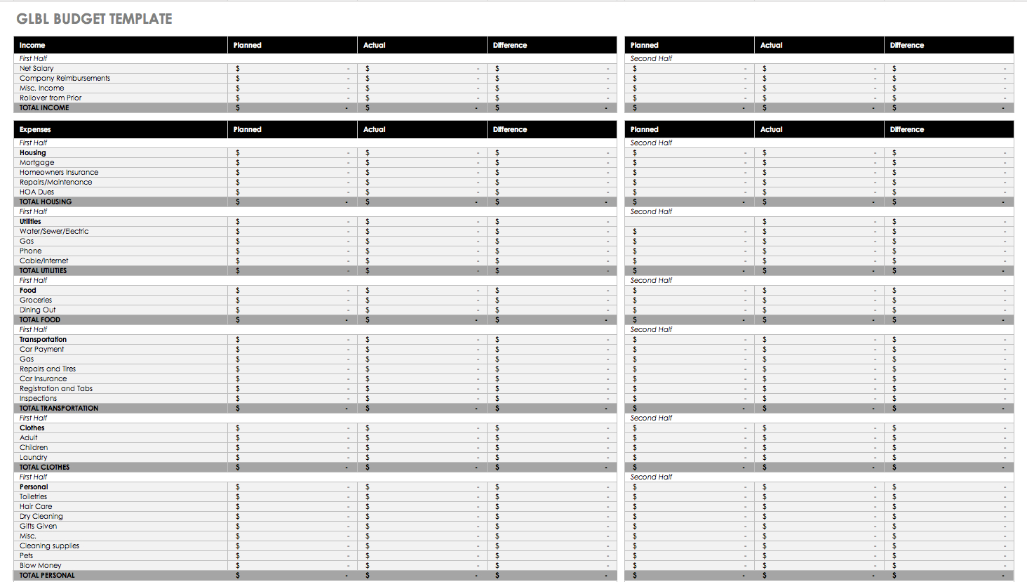 Free Budget Templates In Excel For Any Use - Household Budget Template Free Printable