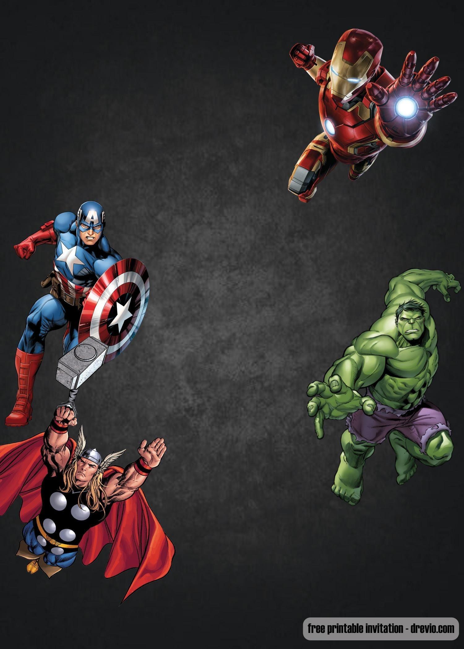 Free Chalkboard Avenger Birthday Invitation | Ry 4 Bd | Birthday - Avengers Party Invitations Printable Free