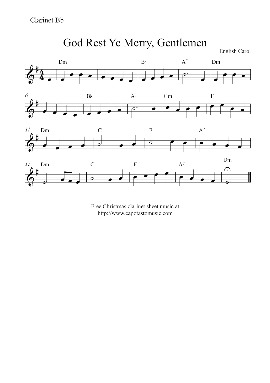 Free Christmas Clarinet Sheet Music - God Rest Ye Merry, Gentlemen - Free Printable Christmas Sheet Music For Clarinet