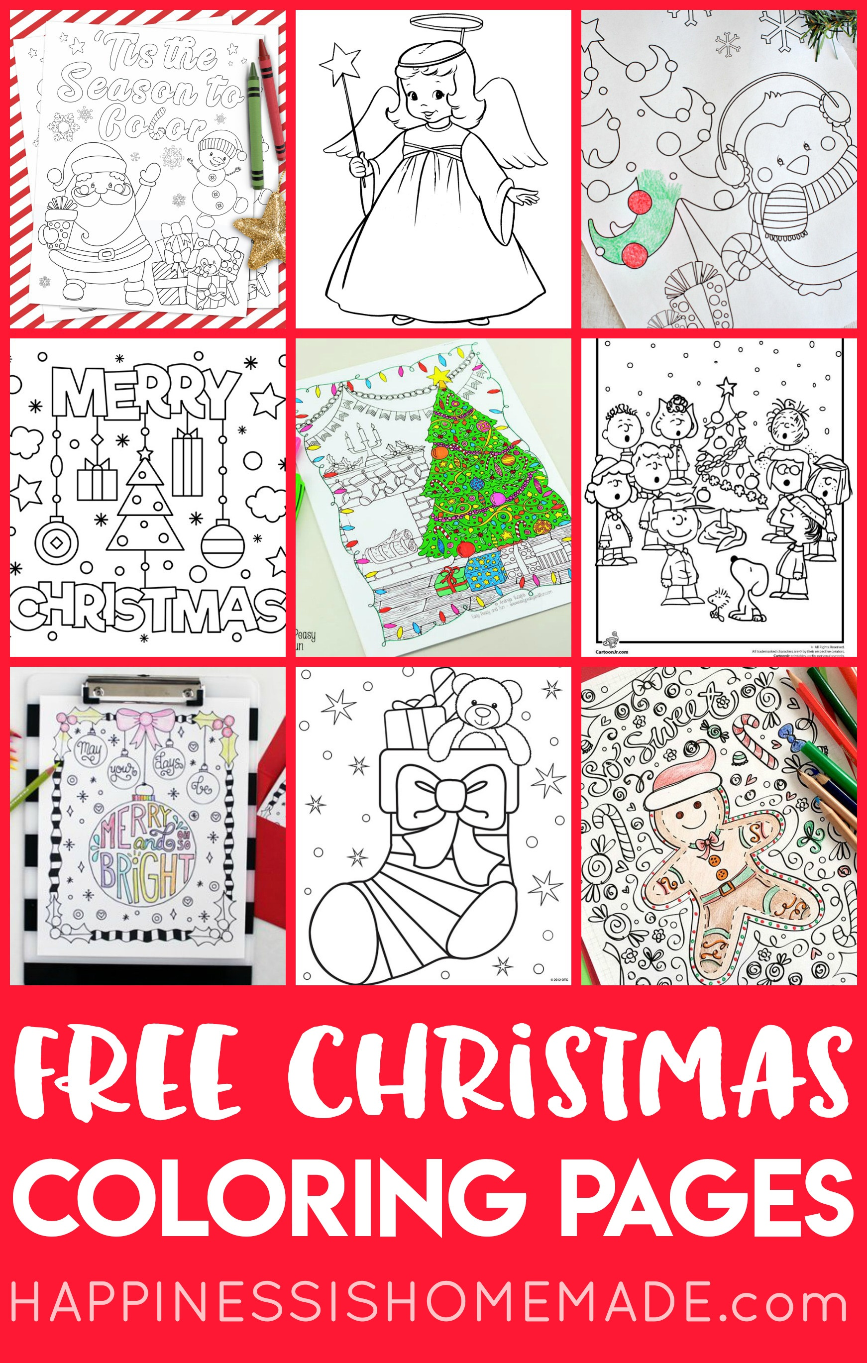 Free Christmas Coloring Pages For Adults And Kids - Happiness Is - Free Printable Christmas Books For Kindergarten