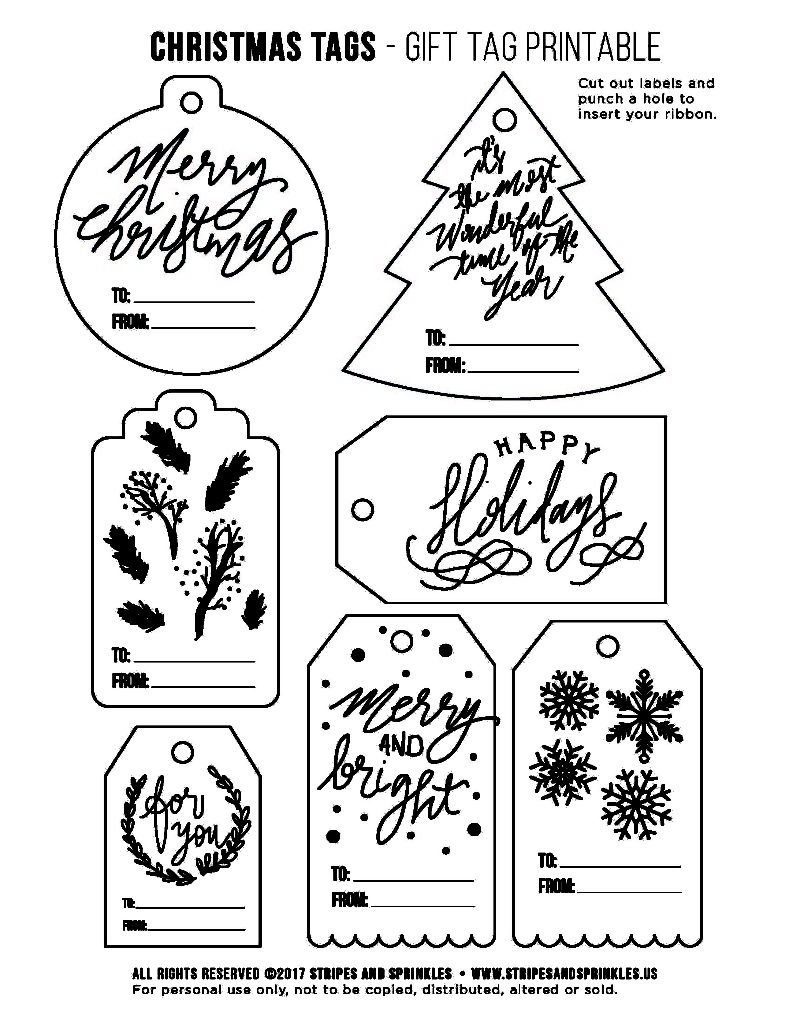 Free Christmas Gift Tag Printable - Bw - Stripes & Sprinkles - Christmas Gift Tags Free Printable Black And White