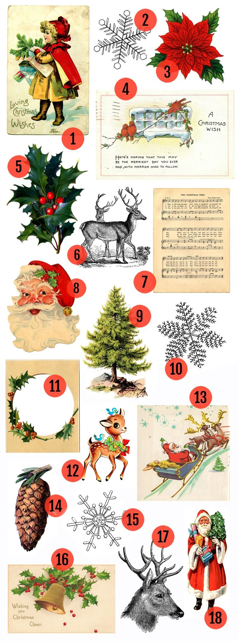 Free Christmas Printable & Vintage Christmas Clip Art | Christmas - Free Printable Vintage Christmas Clip Art