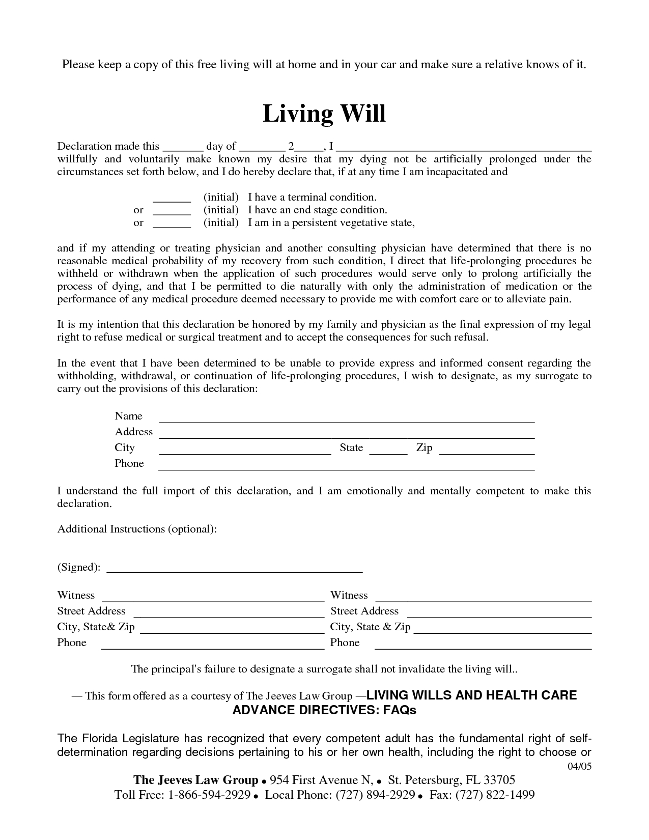 Free Copy Of Living Willrichard_Cataman - Living Will Sample - Free Printable Wills