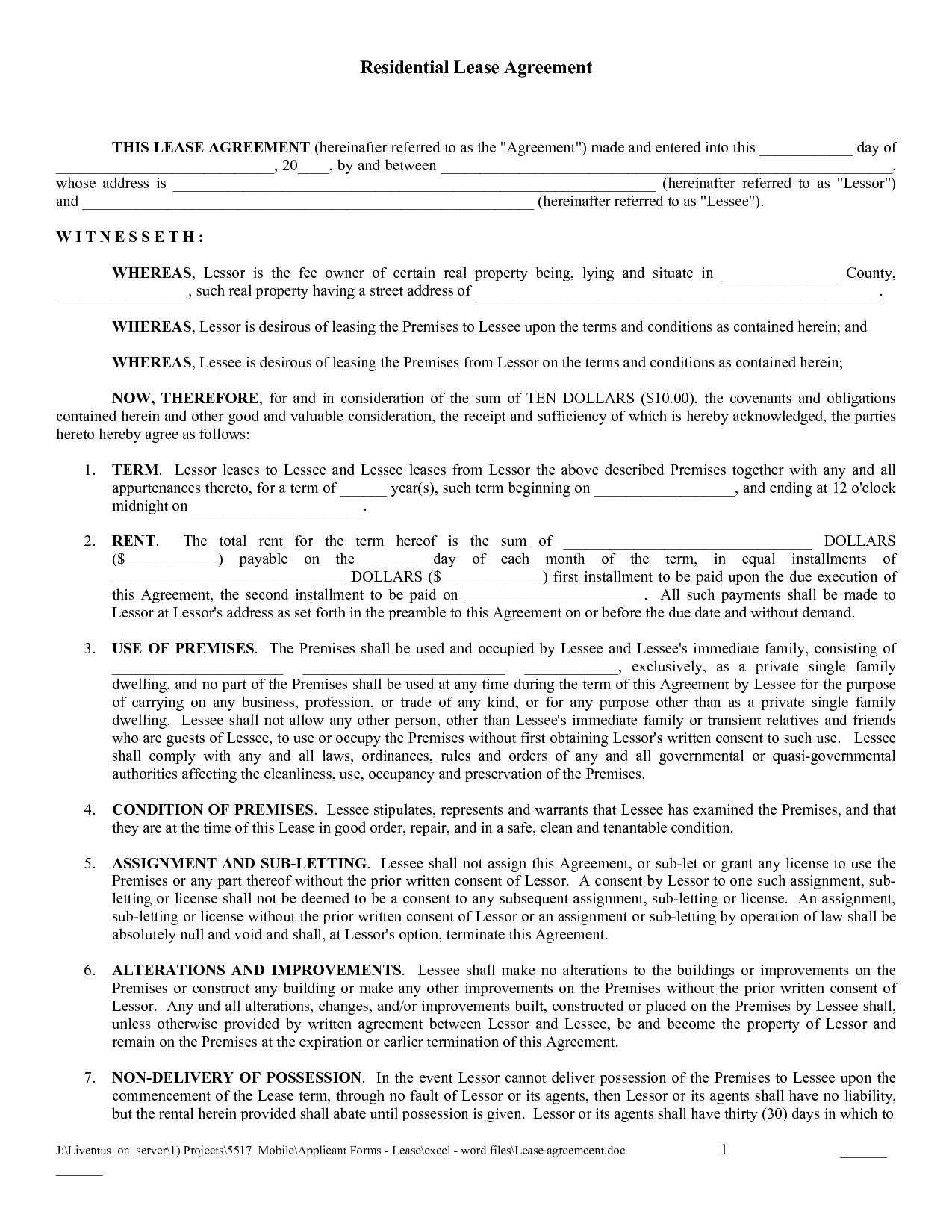 Free Copy Rental Lease Agreement | Free Printable Lease Agreement - Free Printable Lease Agreement Forms
