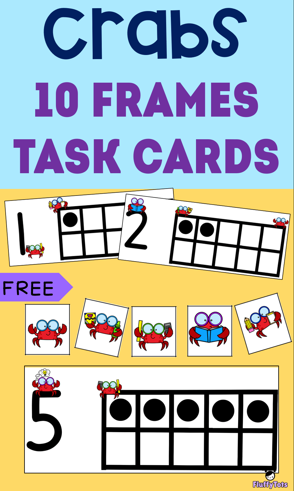 Free Crabs 10-Frames Task Cards : Perfect For Preschoolers And - Free Printable Kindergarten Task Cards