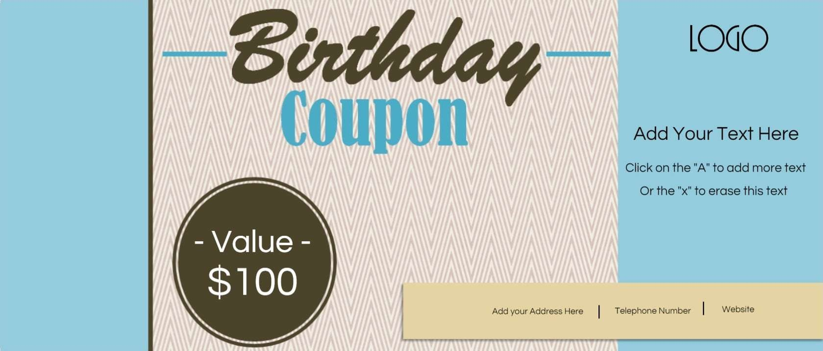 Free Custom Birthday Coupons - Customize Online & Print At Home - Free Printable Blank Birthday Coupons
