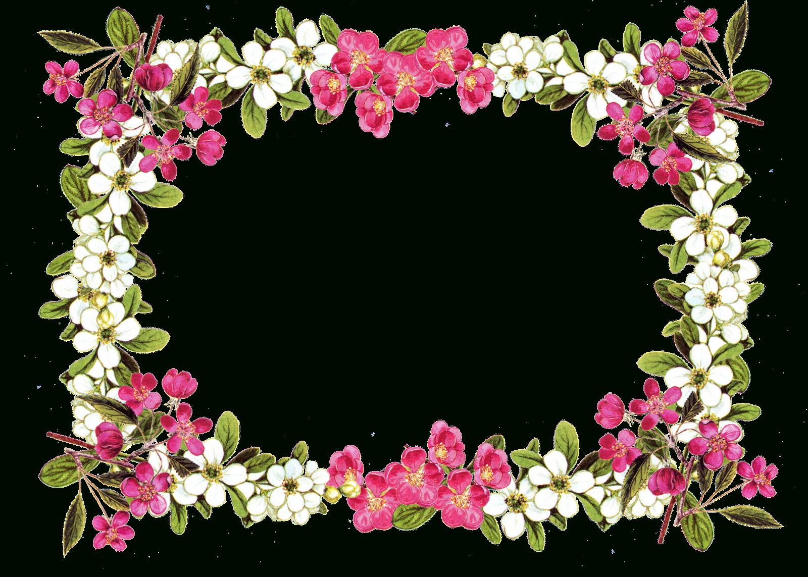 Free Digital Flower Frame Png In Vintage Design – Blumenrahmen - Free Printable Clipart Of Flowers