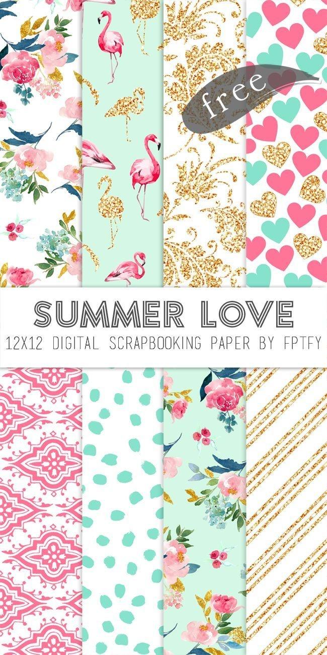 Free Digital Scrapbook Paper-Summer Love | Make - Printables - Free Printable Scrapbook Stuff