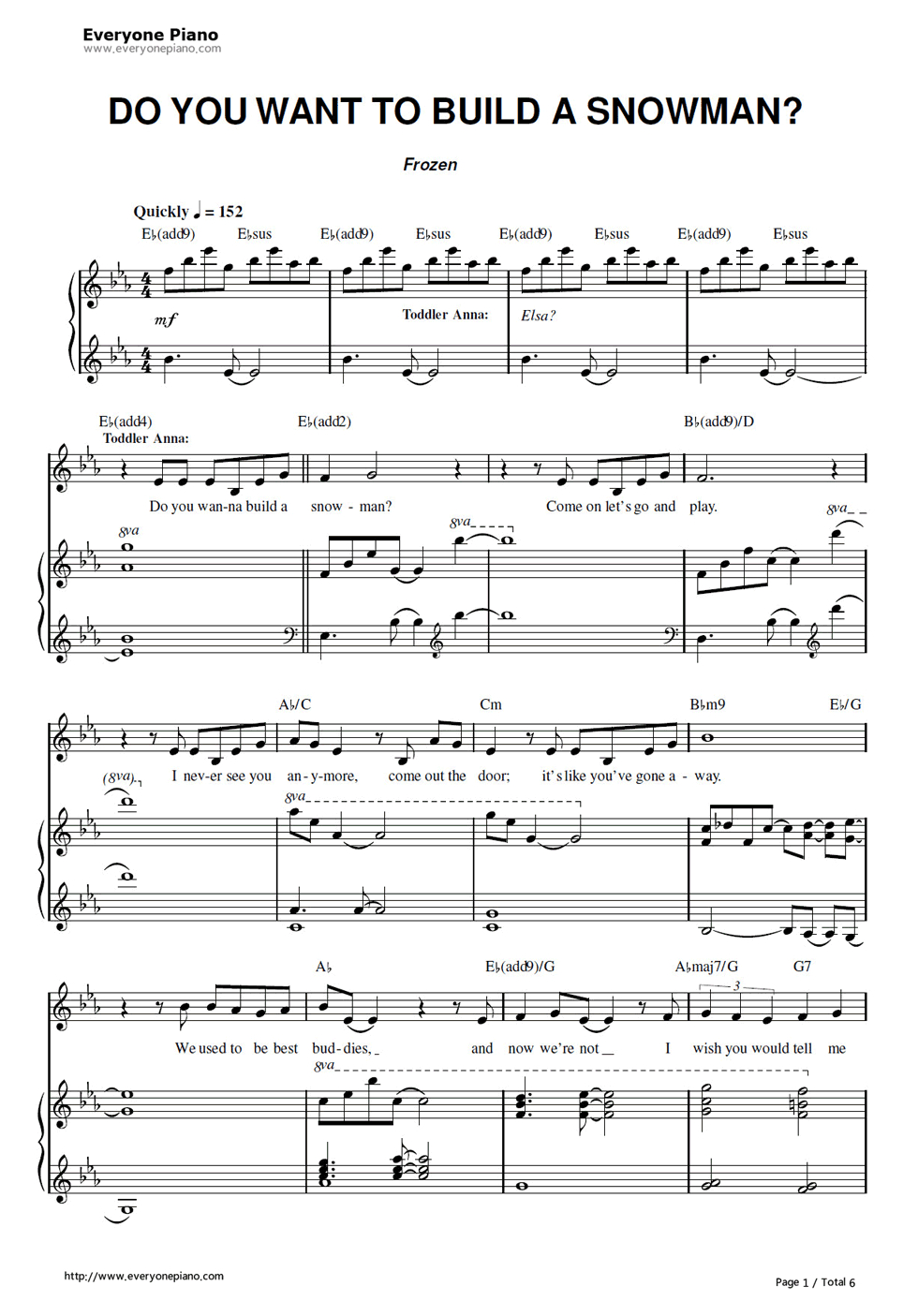 Free Do You Want To Build A Snowman-Frozen Ost Sheet Music Preview 1 - Free Printable Clarinet Sheet Music
