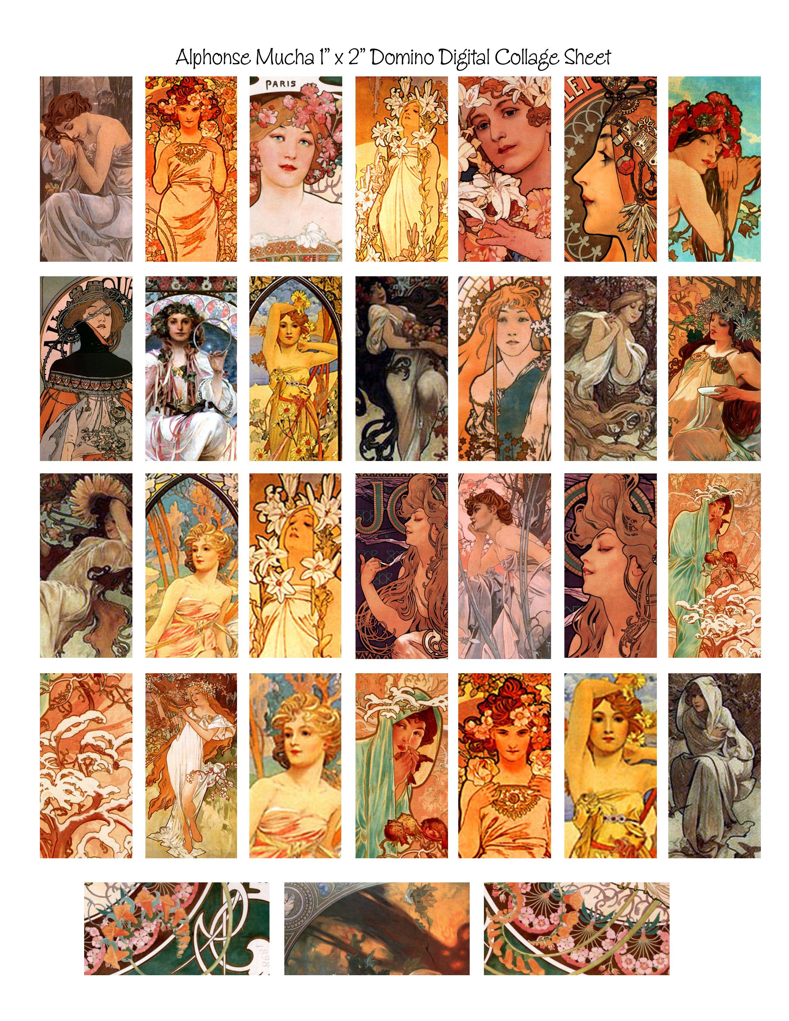 Free Domino Alphonse Mucha Digital Collage Free Download - Free Printable Digital Collage Sheets